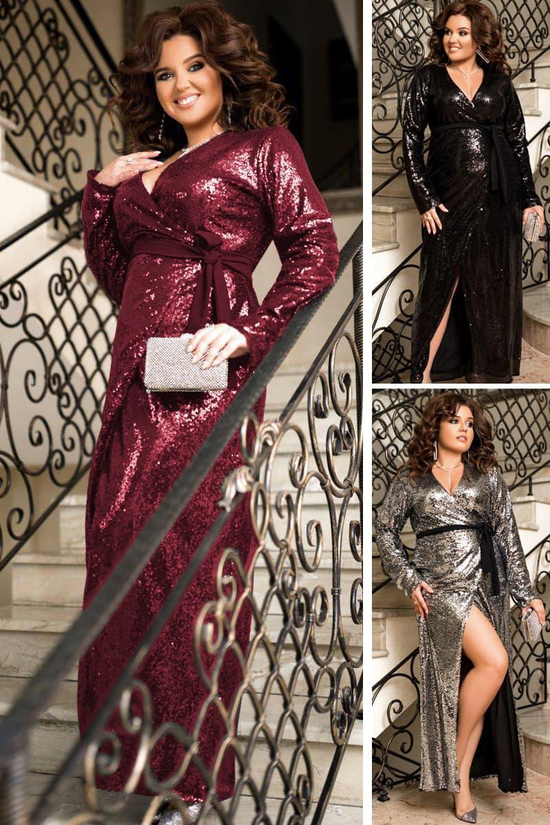 Блестящее платье Прадо с глубоким вырезом