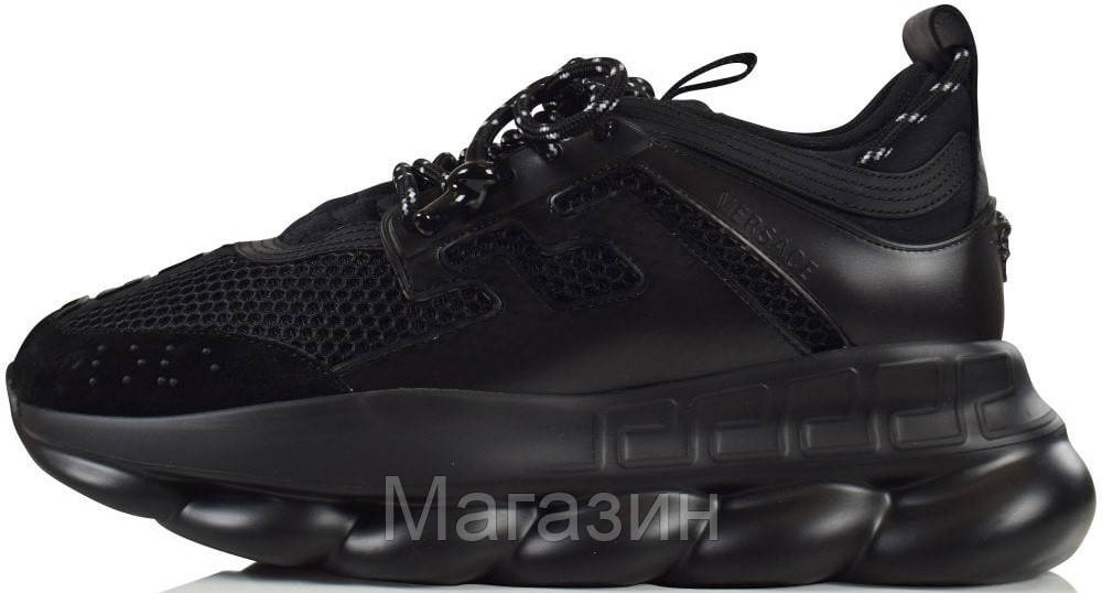 Мужские кроссовки Versace Chain Reaction Triple Black Версаче черные