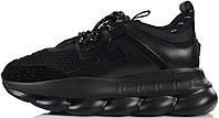 Мужские кроссовки Versace Chain Reaction Triple Black Версаче черные