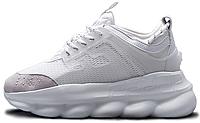 Мужские кроссовки Versace Chain Reaction White Версаче 2020 кросівки Версачі білі