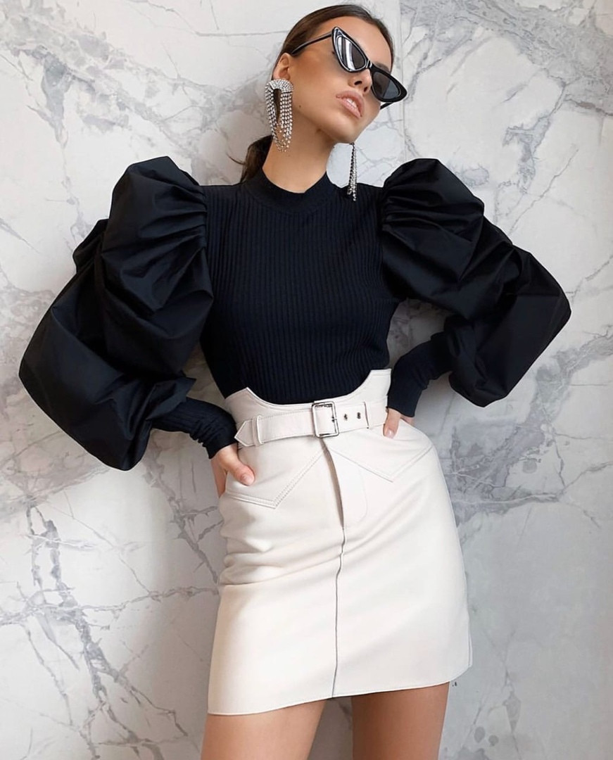 Женская стильная нарядная черная кофта рукав фонарь размер: 42, 44, 46