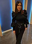 Женская стильная нарядная черная кофта рукав фонарь размер: 42, 44, 46, фото 2