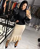 Женская стильная нарядная черная кофта рукав фонарь размер: 42, 44, 46, фото 3