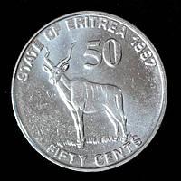 Монета Эритреи 50 центов 1997 г. Винторогая антилопа