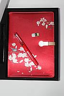 Блокнот ежедневник женский 17*24 см красный с принтом со встроенным  POWER BANK
