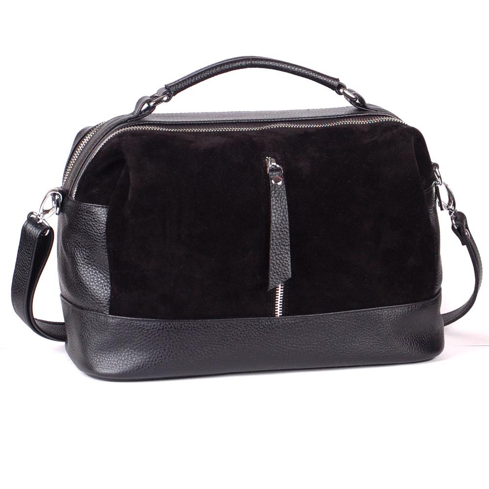 Женская кожаная сумочка 44 черная замша/флотар 014401-0501