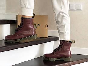 Женские зимние ботинки Dr. Martens,кожаные,марсала (темно бордовые), фото 2