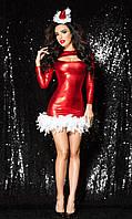 Новогоднее красное платье Снегурочки (размеры XS-L)