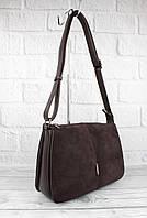 Мягкая, вместительная сумка Gilda Tohetti 60488-1 коричневая с замшевой вставкой, фото 1
