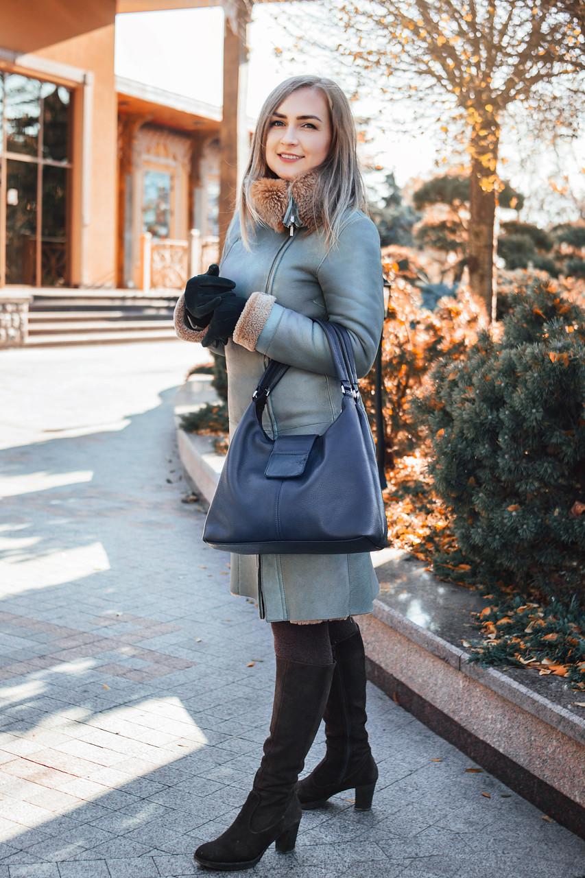 Кожаная сумка женская 39 темно-синий флотар 013901-0303-01