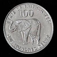 Монета Эритреи 100 центов 1997 г. Слоны