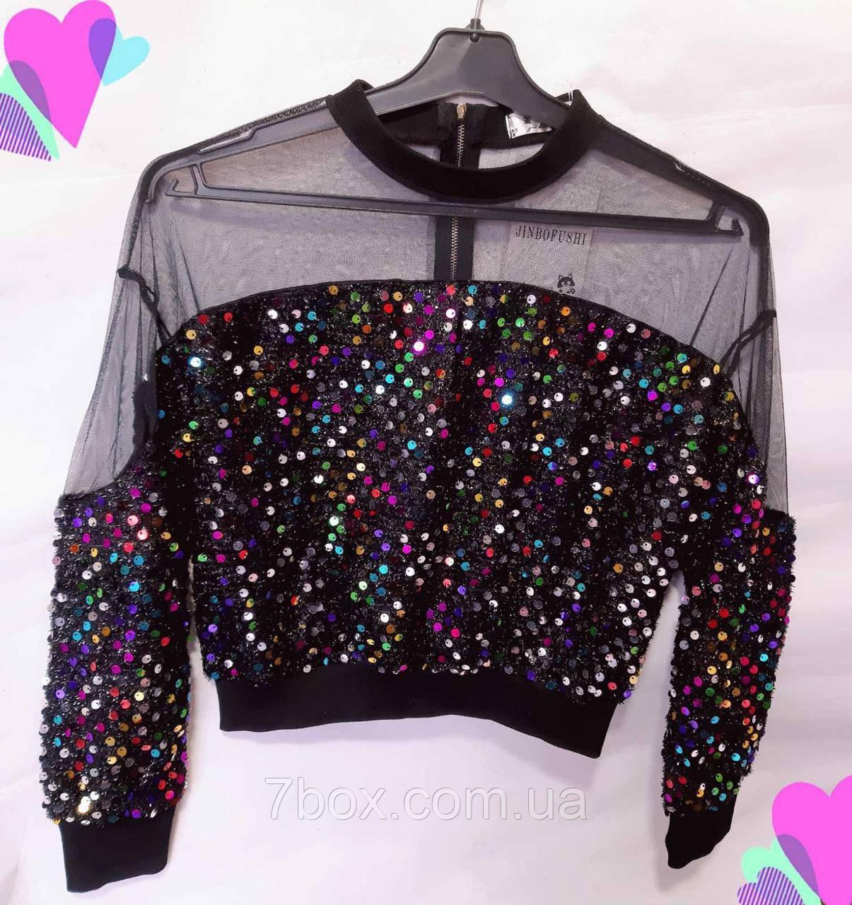Блуза женская с паетками универсальный рр 42-48 Разнацветная