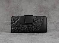 """Кожаный кошелек ручной работы, чёрный кошелек c тисненым орнаментом """"Этно"""", фото 1"""