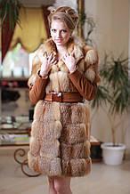 Шуба меховое пальто полушубок жилет из лисы  Fox  fur coat and vest