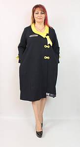 Турецкое черное женское платье свободного кроя, большие размеры 54-62