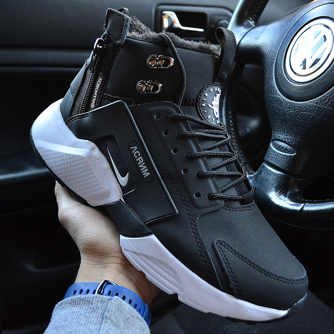Зимние мужские кроссовки Nike Huarache X Acronym City Winter black white с мехом теплые. Живое фото. Реплика