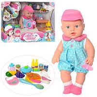 Кукла Пупс 32см, звук, продукты, бутылочка, соска, посуда, на батарейке, в коробке