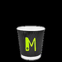 """Бумажный стакан гофрированный 250мл. Евро серия  """"M"""" 30шт/уп (1ящ/28уп/840шт) под крышку РОМБ81/КВ81"""