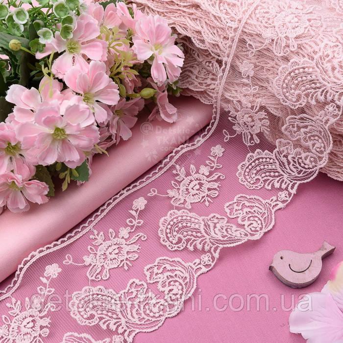 Кружево с хлопковой нитью розового цвета, ширина 9 см.