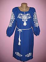 """Женское вышитое синее платье с белой вышивкой """" Букет"""" . Размеры 46 - 56"""