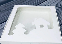 Коробка для пряников / 150х150х30 мм / Белая / окно-НГ-Дом / НГ