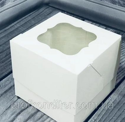 Коробка Молочная для 1-ого кекса с окном 100*100*90
