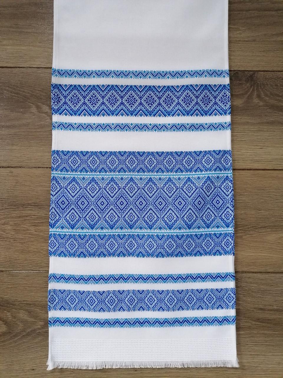 Тканий лляний рушник Волинські візерунки з синьо-блакитним орнаментом 240 см