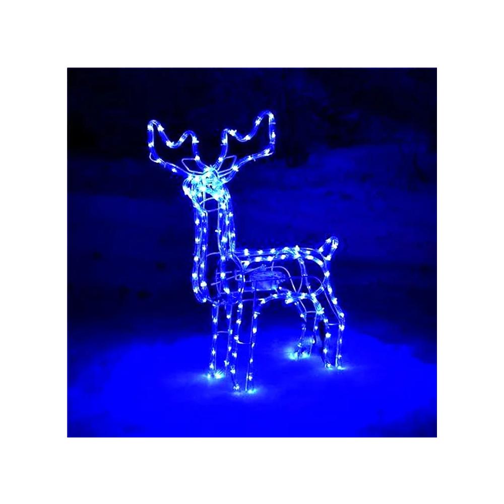 Светодиодный Олень 120х110х55 см. Christmas Reindeer 3D с движущейся головой, цвет синий
