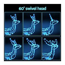 Светодиодный Олень 120х110х55 см. Christmas Reindeer 3D с движущейся головой, цвет синий, фото 3