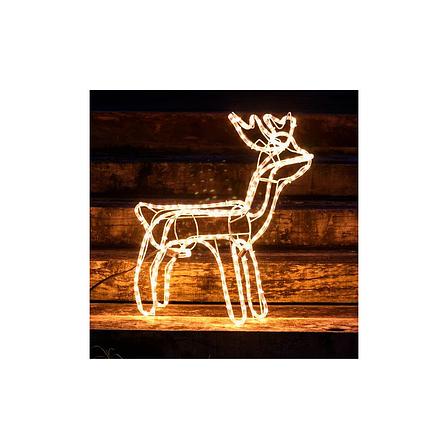 Светодиодный Олень 120х110х55 см. Christmas Reindeer 3D с движущейся головой, цвет синий, фото 2