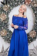 Нарядное длинное платье Софт Евросетка и кружево Размер 42 44 46 В наличии 4 цвета, фото 1