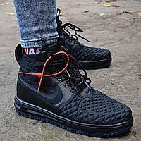 Мужские зимние кроссовки Nike Lunar Force 1 Duckboot черные термо без меха. Фото в живую. Реплика, фото 1