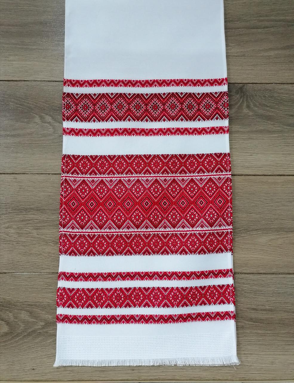 Тканый льняной рушник  Волинські візерунки  красно-бордовый 240 см