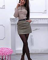 """Юбка женская теплая """"Елочка"""" с пояском 42-46 рр цвет коричневый"""