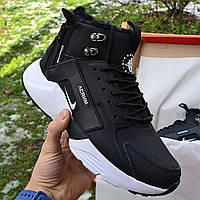 Зимние мужские кроссовки Nike Huarache X Acronym City Winter черные с белым с мехом. Живое фото. Реплика