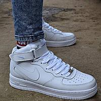"""Зимние мужские кроссовки Nike Air Force 1 High """"White"""" белые кожаные с мехом аир форсы. Фото в живую. Реплика"""