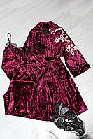 Велюровая пижама с брюками и халат-набор одежды для дома.