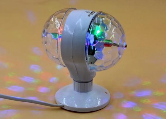 Обертова диско лампа подвійний LED Crownberg CB-0302 світильник