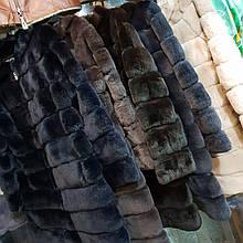 Шуба из натурального меха кролик рекс с капюшоном