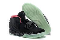 Кроссовки мужские Nike Air Yeezy 2 ЧЕРНЫЕ ЗЕЛЕНЫЕ ИЗИ
