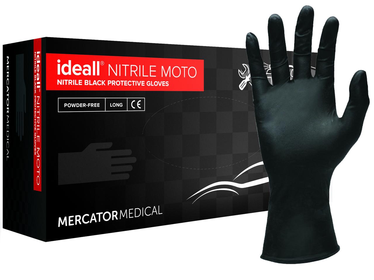 Перчатки нитриловые Ideall Nitrile Moto черные L