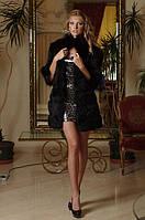 Шуба жилет из черной лисы, рукава съемные на молнии convertible fox fur coat vest in black, фото 1