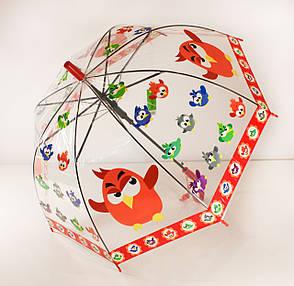 """Зонт детский """"Angry Birds"""", прозрачный, красный, фото 2"""