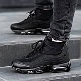 Чоловічі кросівки Nike Air Max 95 Sneаkerbоot в стилі Найк ЧОРНІ (Репліка ААА+), фото 6