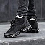 Чоловічі кросівки Nike Air Max 95 Sneаkerbоot в стилі Найк ЧОРНІ (Репліка ААА+), фото 7