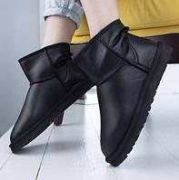 Натуральные угги женские кожаные UGG Australia Classic Mini Bomber Black. Фото в живую. Люкс копия, фото 1