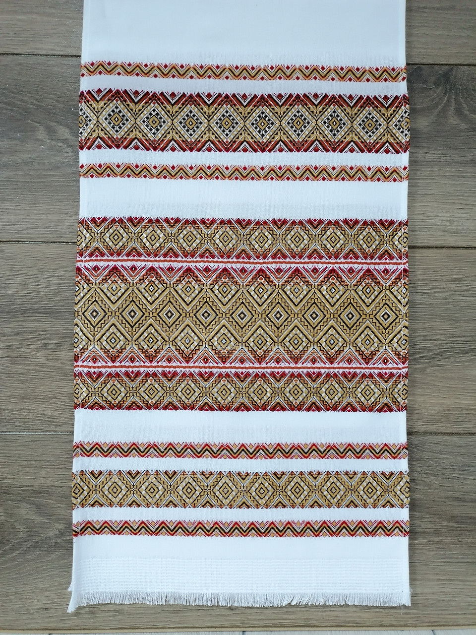 Тканый льняной рушник Волинські візерунки бордово-золотой 240 см