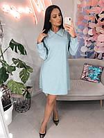 """Короткое трикотажное платье-трапеция """"Amver"""" с люрексом и воротничком (большие размеры)"""
