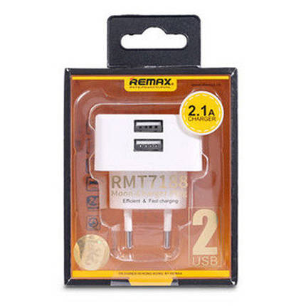 ЗУ сетевое евровилка Moon RMT-7188 3.1A 2*USB 220V White Remax 341301, фото 2