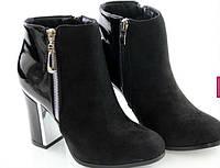 Замшевые черные полусапожки на толстом каблуке
